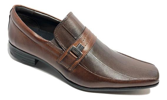 Sapato Social Calvest Em Couro Com Textura Masculino - Marro
