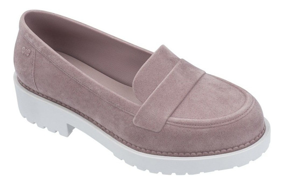 Sapato Feminino Mocassim Zaxy Date Floc Rosa