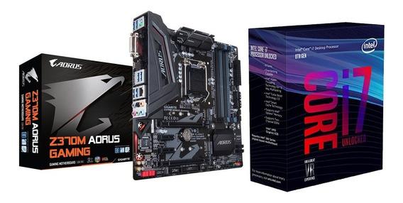 Kit Placa Mãe Gigabyte Z370m-aorus Gaming + Cpu I7-8700k