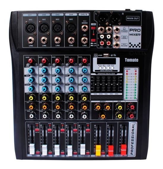 Mesa De Som 6 Canais Efeitos Equalizador Mixer Bluetooth Mp3 Player Digital Usb Tomate Tyt006