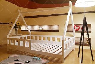 Cama Casita Tipi Montessori Blanca Con Barandas 1,90m