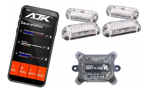 Novo Strobo Ajk Rgb 16 Milhões Cores 2020 4 Faróis Bluetooth