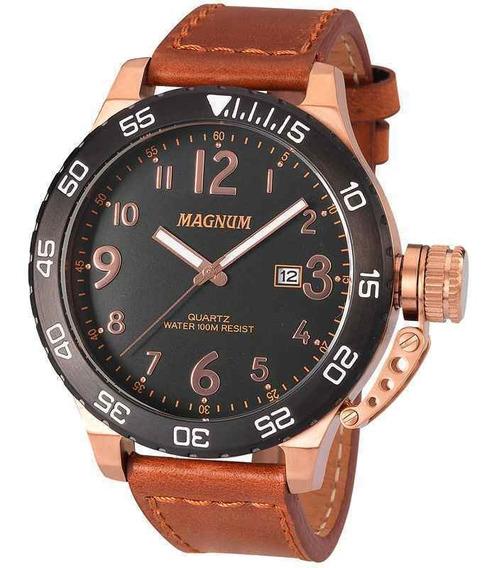 Relógio Magnum Masculino Bronze Couro Marrom Ma33700p + Nf