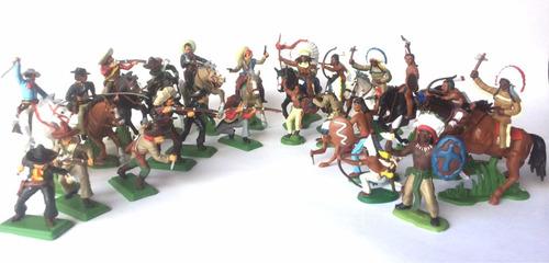 Indios Y Vaqueros A Caballo Soldaditos De Plástico
