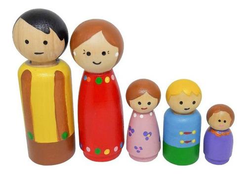 Muñequitos Madera Tipo Peg Doll - Familia X 5
