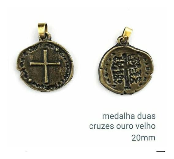 Cordão Medalha Das Duas Cruzes Canção Nova 28 Mm
