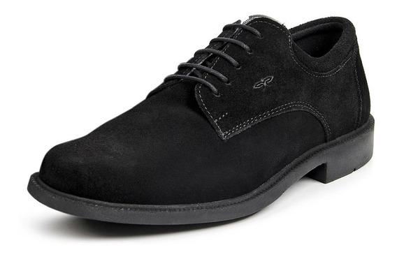 Sapato Casual Masculino Em Couro Camurça Calprado Preto