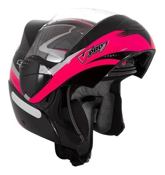 Capacete para moto escamoteável Pro Tork V-Pro Jet 2 Carbon preto, rosa tamanho 62