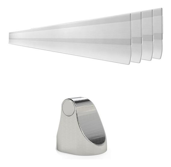Kit Trava Porta Magnético E 4 Veda Porta Transparente 80cm