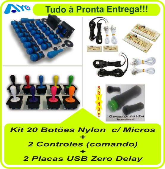 Kit 20 Botões Arcade + 2 Controles + 2 Placas Zero Delay