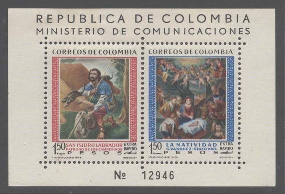 Colombia 1960 San Isidro Labrador Bloque Mint - No Envío