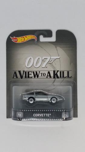 Hot Wheels Retro 007 Corvette Plata James Bond 1:64