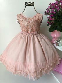 Vestido Infantil Menina Nude Luxo Casamento Festas
