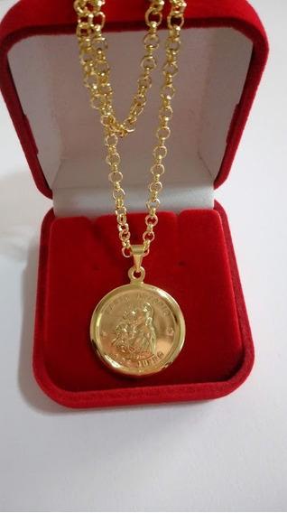 Colar Elo Português 45cm + Medalha De Santo Antonio Banhada