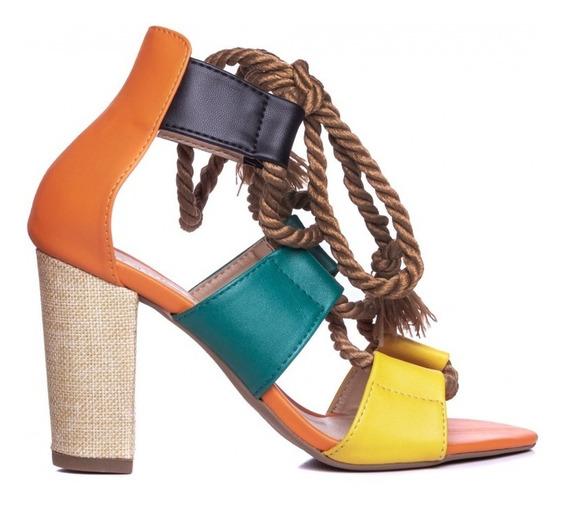 Sandália Sapato Feminina Salto Alto Quadrado Tiras Linda