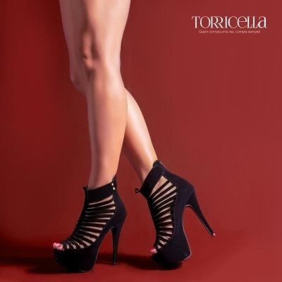 Sapato Peep Toe Com Meia Pata Salto Ref435