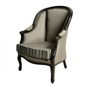 Cadeira Poltrona Luiz Xv Maciça Preta Tecido Nobre