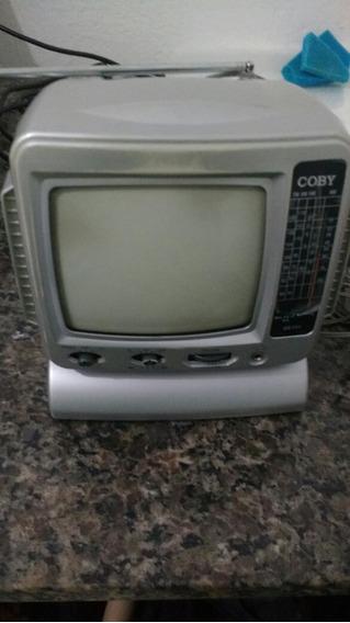 Mini Tv Rádio Coby Preto E Branco Com Am/fm
