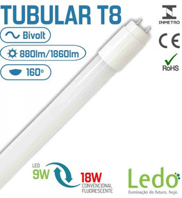Kit 5 Tubular 9w Bivolt Branco Morno 60cm S/ Reator T8 Ledo