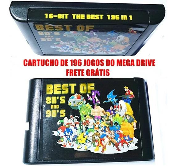 Cartucho 196 Jogos Mega Drive Sonic, Frete Grátis