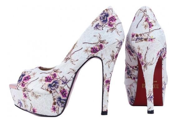 Peep Toe Renda Branco Floral Solado Vermelho Noiva Casamento