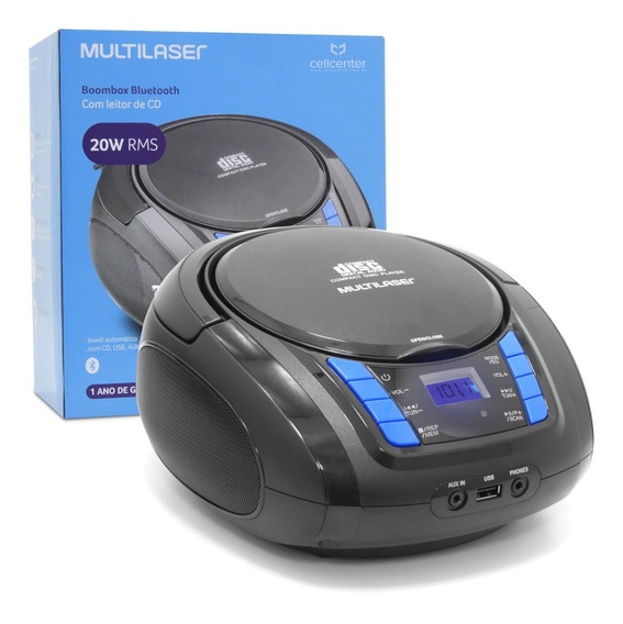 Rádio Cd Player Usb Fm Sd Auxiliar 20w Multilaser Boombox
