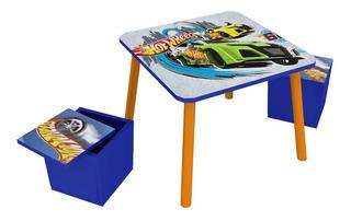 Mesa Y Sillas Infantiles Para Niños Puff Disney Hot Wheels+