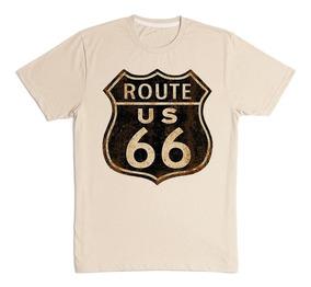 Camiseta Masculina Estampada Rota 66 Placas Retrô