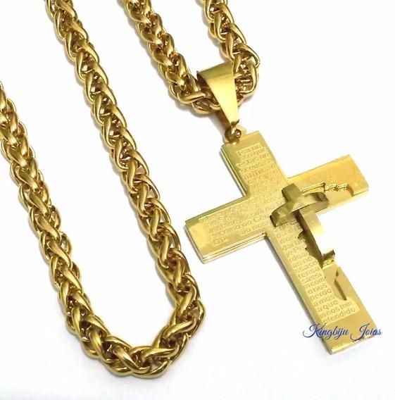 Cordão Grosso+crucifixo Grande Masculino Folheados Ouro 60cm