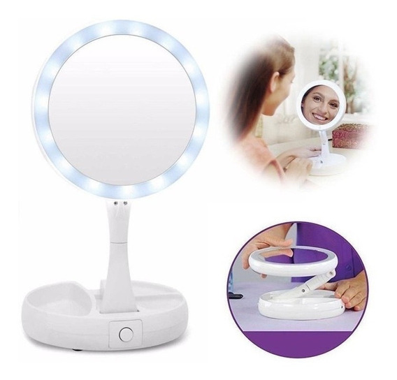 Espejo Doble Aumento Luz Led Plegable Maquillaje Portatil
