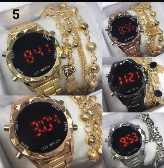 Kit 05 Relógio Digital Feminino + Pulseira & Caixa - Revenda