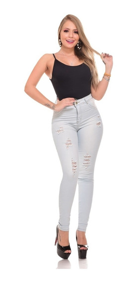 Kit 3 Calças Jeans Feminina Cintura Cós Média C/ Lycra