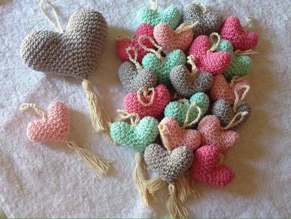 Souvenirs Corazon Crochet Nacimiento Casamiento Baby Shower