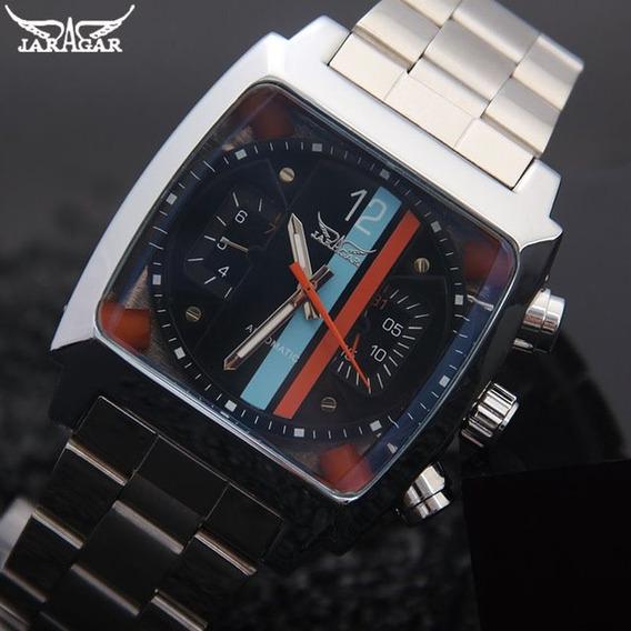 Relógio Automático Jaragar C. Quadrada (calendário Não Pula)