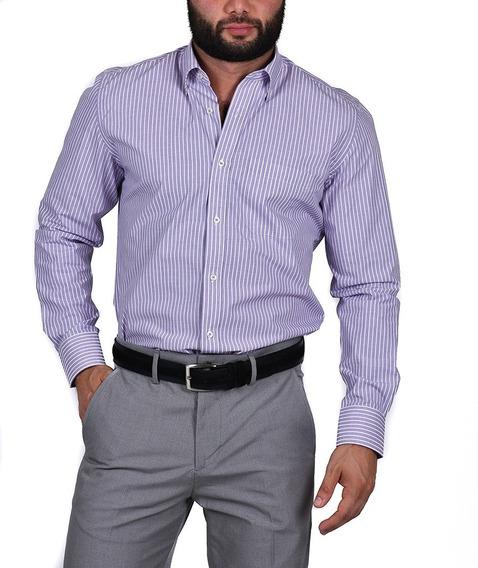 Camisa Vestir, Varios Colores, Rayas, Manga Larga Algodon