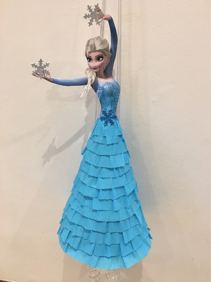 Pinata Elsa Frozen - Con Detalles De Relieve Y Brillo!