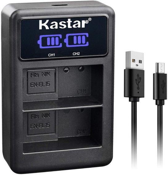 Carregador De Bateria Digital Para Nikon Kastar Led2-enel15