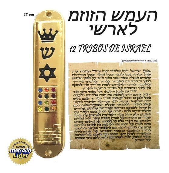 Mezuzá 12 Tribos De Israel Banhada Ouro18+ Pergaminho Grátis