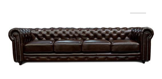 Sofa Piel Genuina 3 Mts - Chesterfield - Conforto Muebles