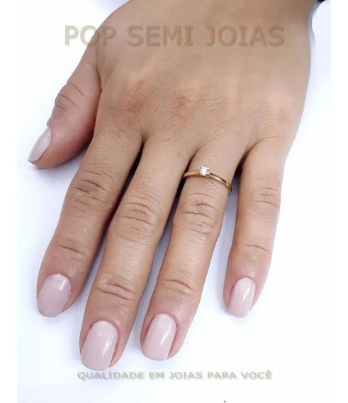 Anel Debutante Noivado Banhado Ouro 18k Solitário Feminino