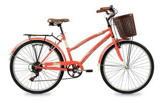 Bicicleta De Paseo Olmo Dama Vintage Amelie Rodado 26 Coral