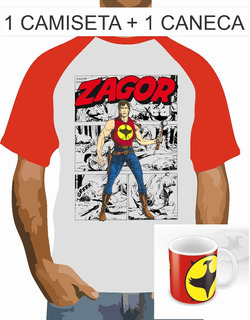 Camisa, Camiseta Raglan + Caneca, Zagor, Western Hq