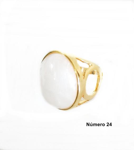 Semi Jóia Anel Dourado N°24 Pedra Natural Cor Branca