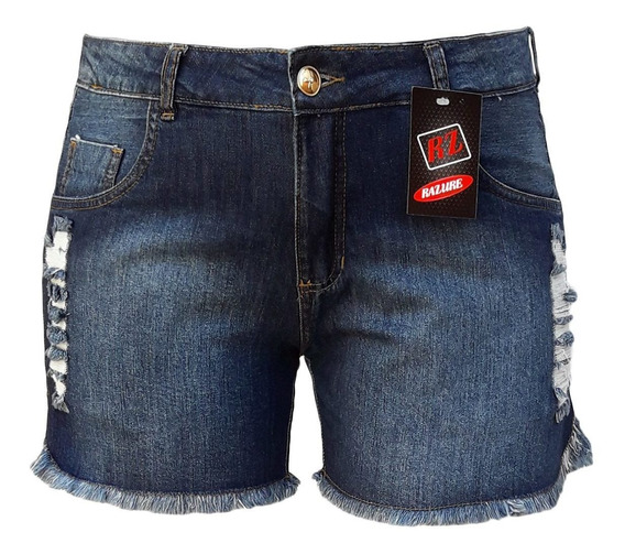 Short Jeans Feminino Rasgado Plus Size Tamanhos 46 Ao 60