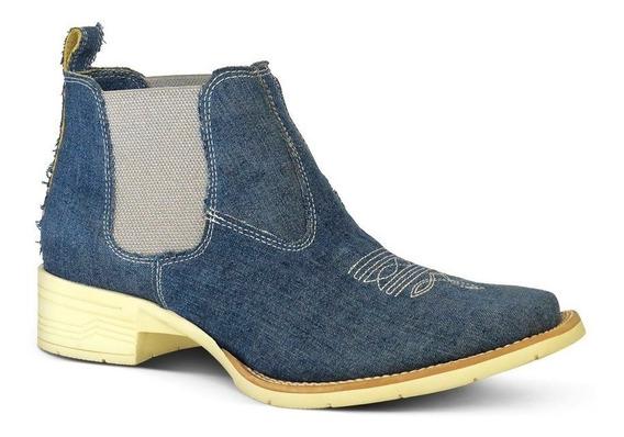 Botina Feminina Silverado Jeans Bq 34 Conforto E Estilo