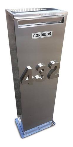 Caixa Correio Inox De Piso Tipo Torre 90x35x20cm C/numeração