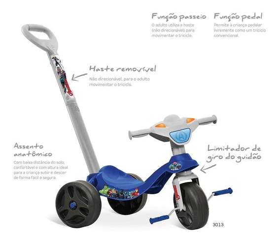 Triciclo Velotrol Infantil Criança Motoca Pedal Vingadores