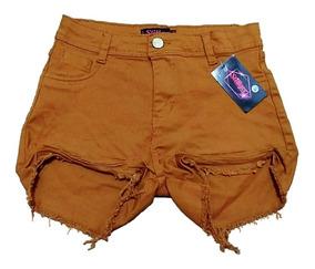 Shorts Feminino Hot Pants Destroyed Disco Pant Cós Alto