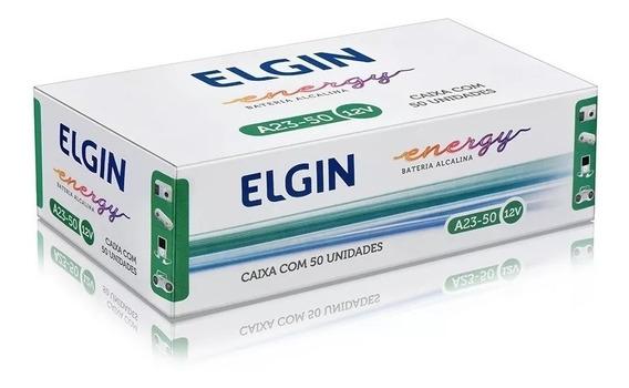 Pilha Elgin 12v A23 Controle Portão Alarme Caixa 50 Pilhas
