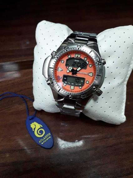 Relógio Atlantis Aqualand Aço Inox Promoção Prova D